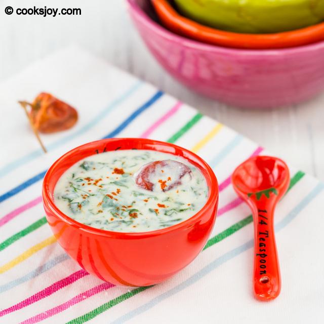 Spinach (Keerai) Raita | Cooks Joy