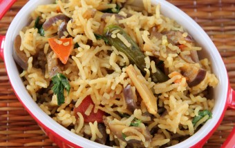 Brinjal Garlic Rice Featured