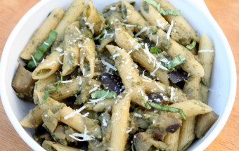 Eggplant - Basil Pesto Pasta Featured