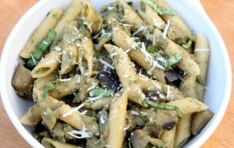 Eggplant - Basil Pesto Pasta Featured