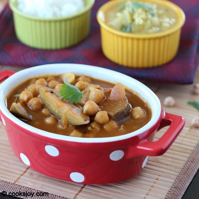 Brinjal Garbanzo Kuzhambu (Tangy Tamarind Gravy)   Cooks Joy