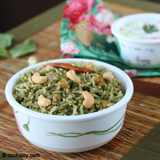 Spinach Masala Rice (Keerai Sadham) | Cooks Joy