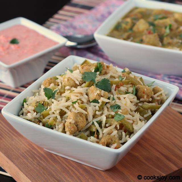 Snow Peas and Soya Chunks Rice | Cooks Joy