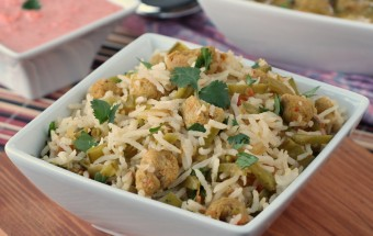 Snow Peas Soya Chunks Rice | Cooks Joy