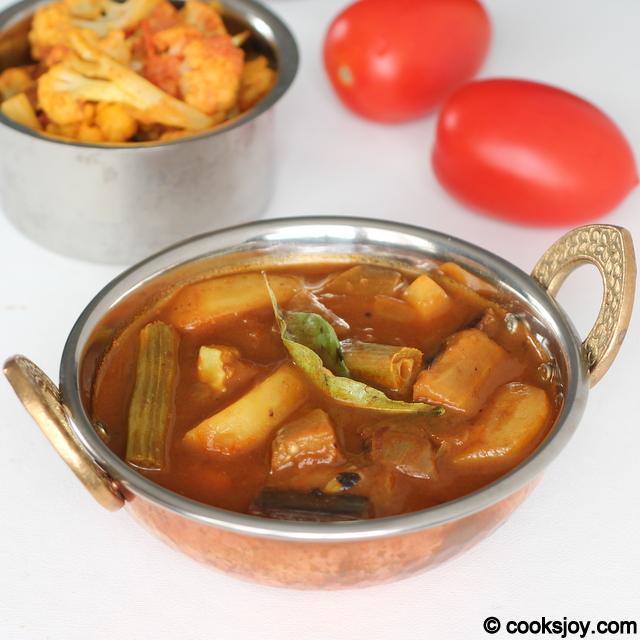 Brinjal-Drumstick-Potato Kuzhambu | Cooks Joy