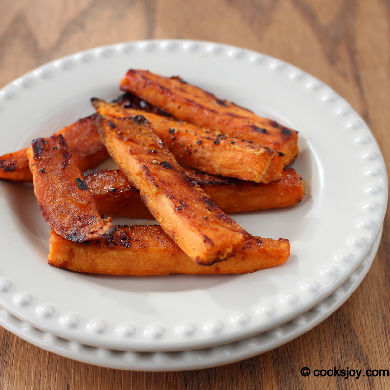 Baked sweet potato wedges that have a slight crunch.