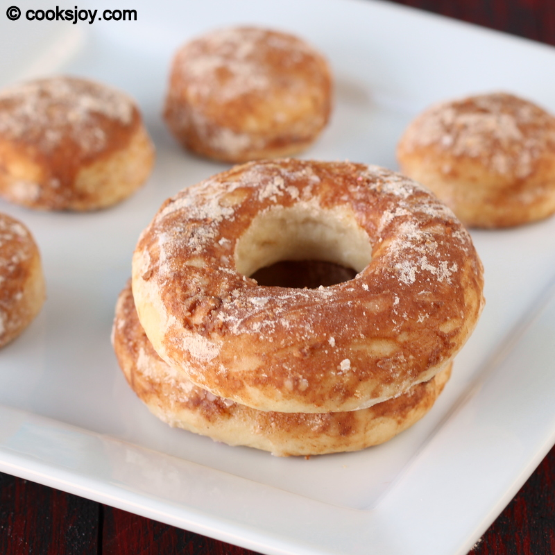 Baked doughnuts with cinnamon sugar topping