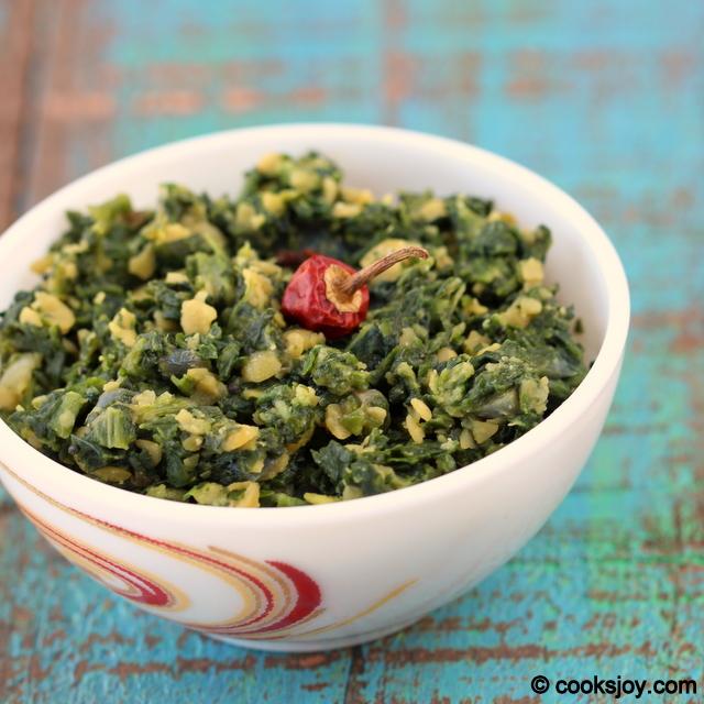 Spinach Dal (thuvaram paruppu) Poriyal | Cooks Joy
