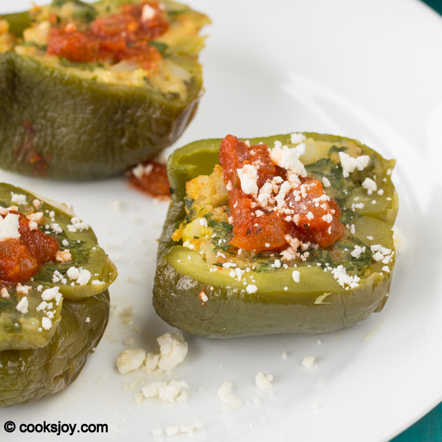 Stuffed Bell Peppers in Tomato Sauce | Cooks Joy