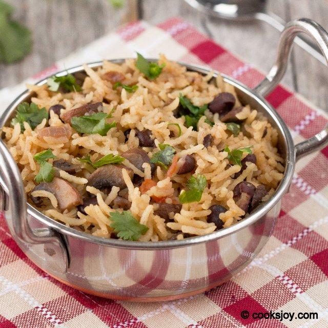Mushroom Black Bean Pulao | Cooks Joy