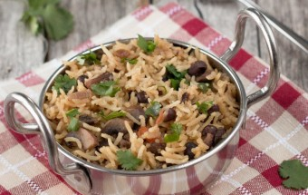 Mushroom Black Bean Pulao | Cooks Joy
