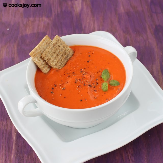 Roasted Red Bell Pepper Soup with Carrot and Tomatoes | Cooks Joy