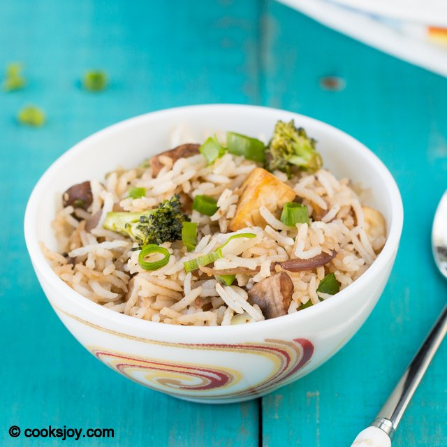 Mushroom Tofu Broccoli Rice | Cooks Joy