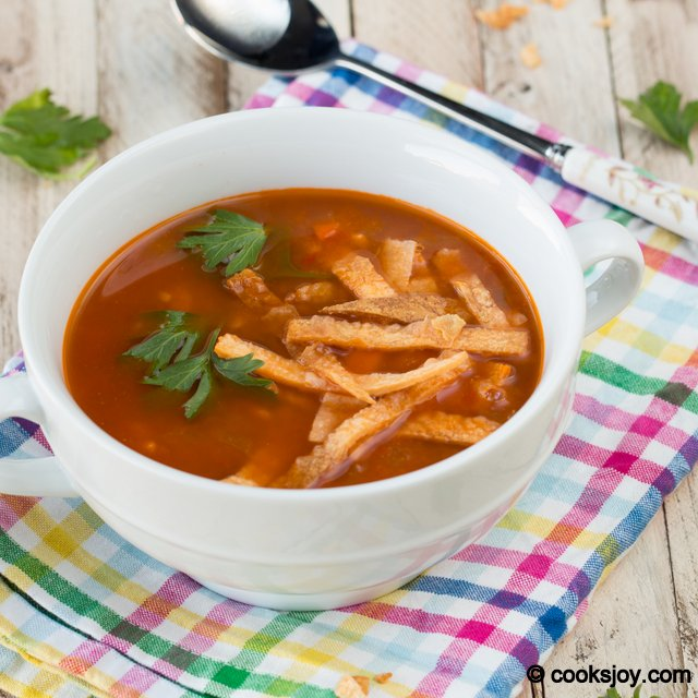 Vegetarian Tortilla Soup | Cooks Joy