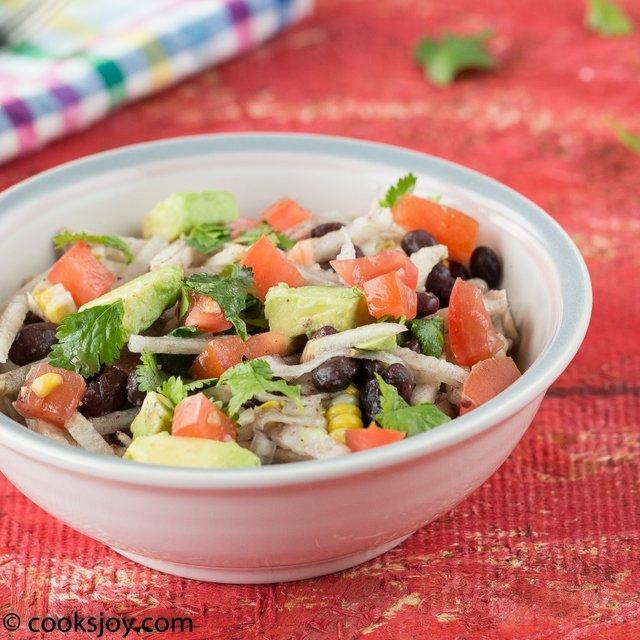 Jicama Black Bean Salad | Cooks Joy